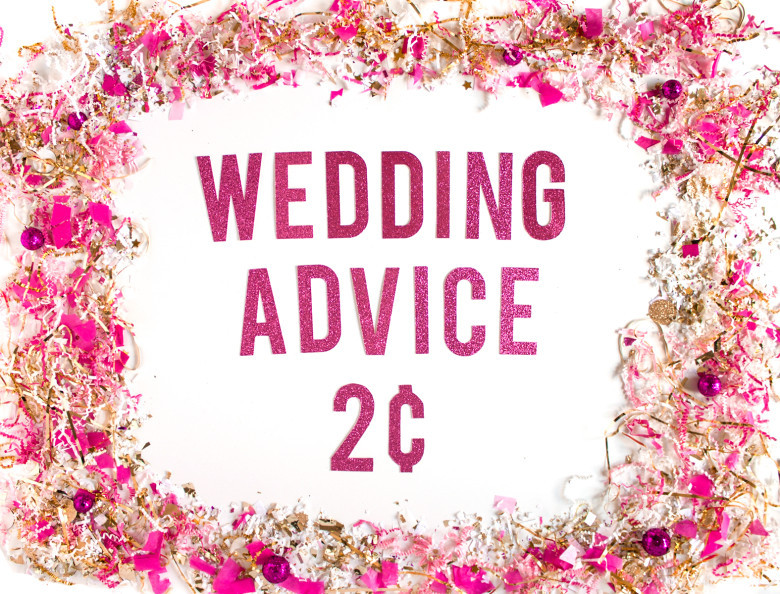Wedding Advice Two Cents Pink Confetti Sign