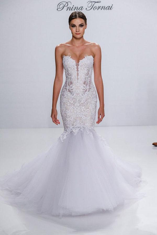 exaggerated drop waistline wedding dress