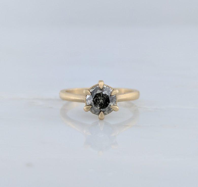Salt & Pepper Round Diamond Ring in 14K Yellow Gold