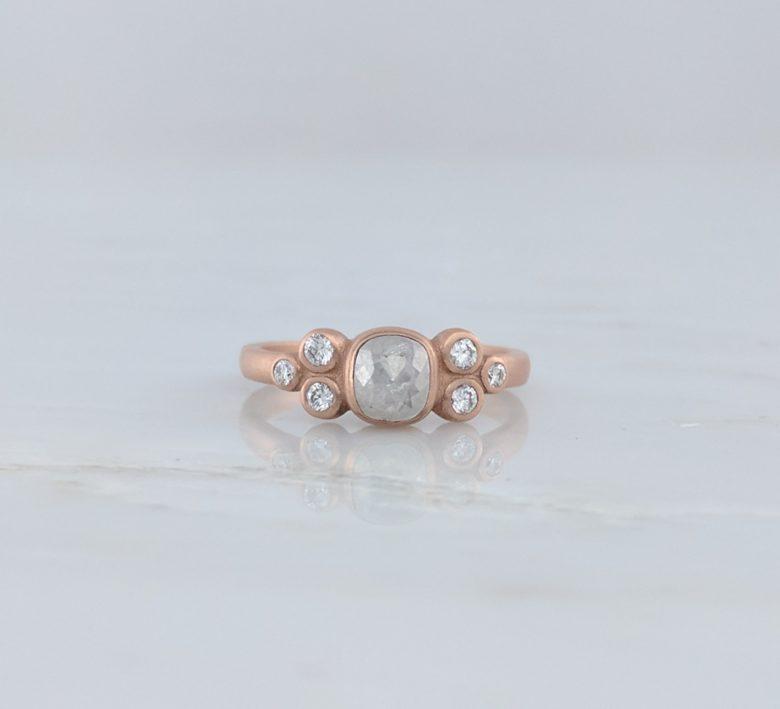 Grey Diamond Cluster Ring in 14K Rose Gold