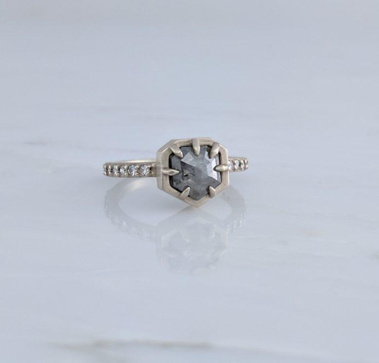 Grey Rose Cut Round Diamond Ring