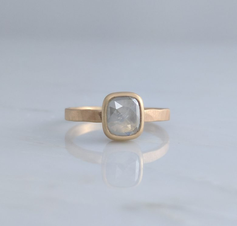 Grey Cushion Rose Cut Ring with Hammered Band in 14K Yellow Gold