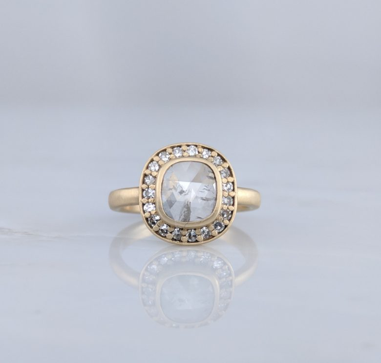 Translucent Rose Cut Diamond Halo Ring in 14K Yellow Gold