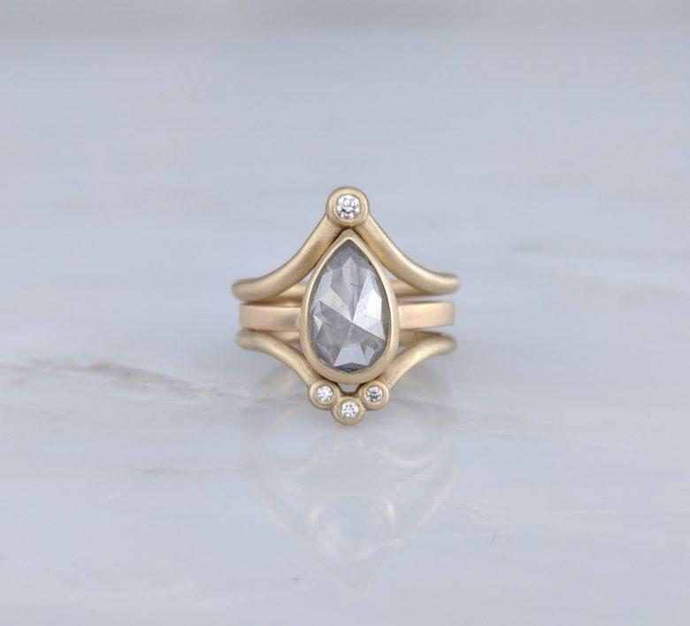 Pear Cut Grey Diamond Ring in 14K Yellow Gold