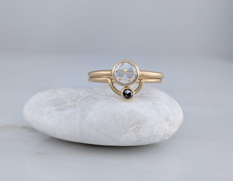 Rose Cut Colorless Diamond Bezel Ring Set in 14K Yellow Gold