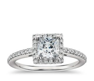 Blue Nile Princess Cut Diamond Engagement Wedding Ring